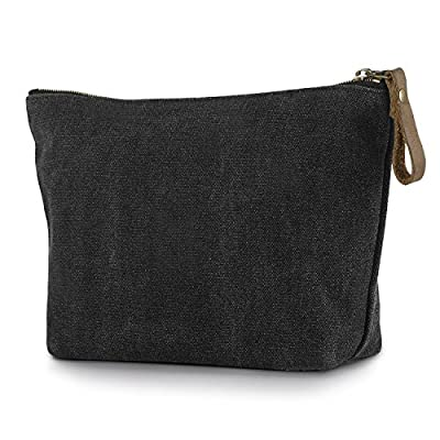 SMRITI Canvas Large Makeup Bag Pouch Purse Cosmetic Organizer for Women - Dark Grey