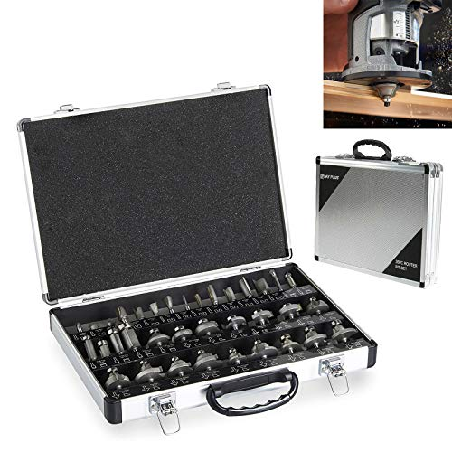 35pc Router Bits Set 1/4' Shank TCTTungsten Carbide Tipped Milling Cutter Woodworking Milling Saw Cutter Woodworking Tools Cutter Smooth Cutting Long Life Wood Drilling Power Tools