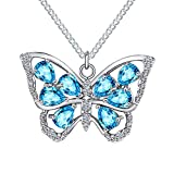 925 Sterling Silver Dainty Cute Pretty Shiny Cz Crystal Sky Light Baby Blue Monarch Morpho Butterfly Wings Pendant Necklace For Women Little Teen Girls Grandma with Aquamarine March Birthstone Fashion Jewelry Gifts For Mother's Day Christmas Valentine Present