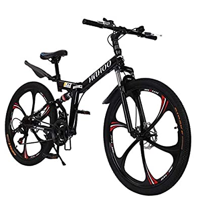 Women Men Folding Mountain Bike,Adult Mountain Trail Bike 26 Inch Wheels Bicycle with 21 Speed Non-Slip Dual Disc Brakes,Full Suspension,6 Spoke(Black)
