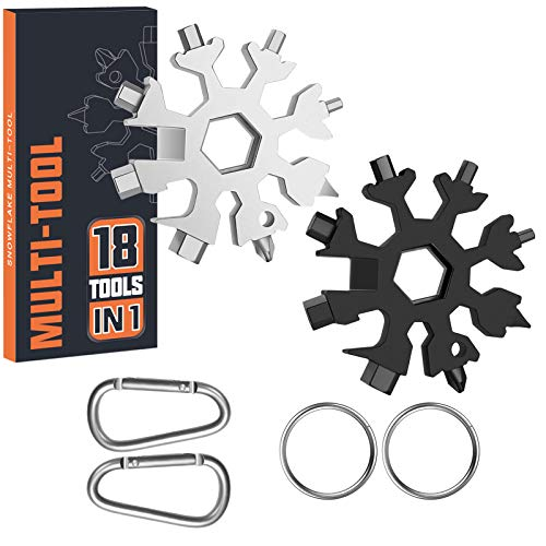 Father's Day Gift 2 PK Multitool Gadgets Dad Gifts Men Brother Husband 18-in-1 Snowflake Multi Keyring Tools with Package Stainless Steel Outdoors Camping Flat Screwdriver Christmas Gift Xmas