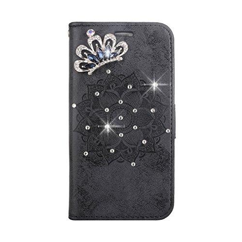 FNBK Hülle für Wiko Lenny 2 Handyhülle, Glänzend Bling Glitzer Diamant Mandala Blumen Muster Leder Standfunktion Schutzhülle Hülle Flip Brieftasche Handytasche für Frauen,Schwarz