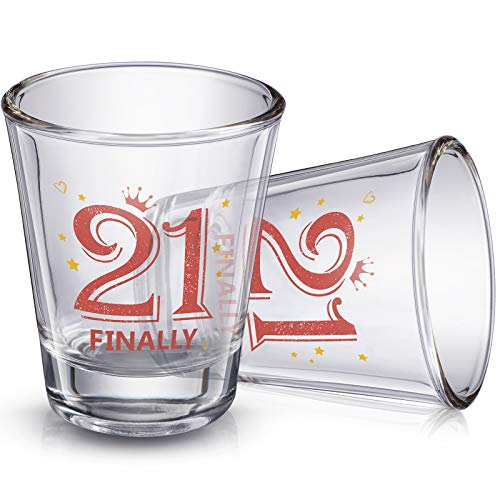 2 Pieces Finally 21 Shot Glass 2 oz 21st Birthday Shot Glass Decoration for Celebrating Friends Sisters Women Turning Twenty One Party Supplies