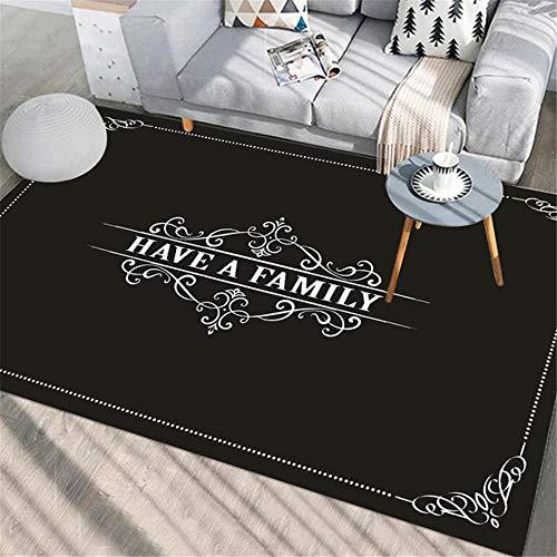 Xiaosua Non-Fading Room Rugs Fashion simple black letter design pattern living room carpet, children climbing carpet wear-resistant non-slip Carpets Black 200x300cm