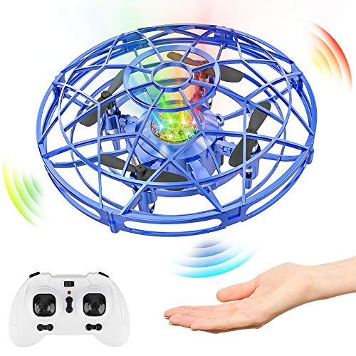 Baztoy Mini UFO Drone, Giocattoli per Bambini 3 4 5 6 7 8 Anni Elicottero Quadricottero telecomandato RC Drone Aerei Palla Volanti Compleanno Regali Ragazzi Ragazze Giocattoli da Giardino Interni(Blu)