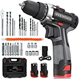 Cordless Drill Set with 2 Batteries, 12.8V 28Nm Powerful Electric Drill Screwdriver Set 34Pcs (2x3900mAh Batteries, 2 Speed, 25+1 Clutch, 10mm Automatic Chuck, Built-in LED Light) for DIY Project