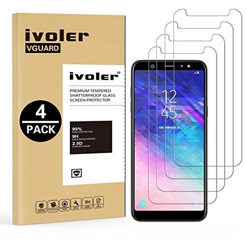 ivoler [4 Unidades] Protector de Pantalla Compatible con Samsung Galaxy A6+ 2018 / A6 Plus 2018, Cristal Vidrio Templado Premium [Dureza 9H] [Anti-Arañazos] [Sin Burbujas]
