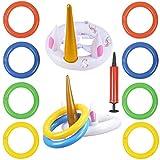 WENTS Aufblasbare Einhorn Ringwurfspiel 2 Set Outdoor Kinder Spiele Pool Spielzeug Eltern Kinder Wurfspiel Gartenspiele Partyspiel für Sommer Party Geburtstag Hochzeit