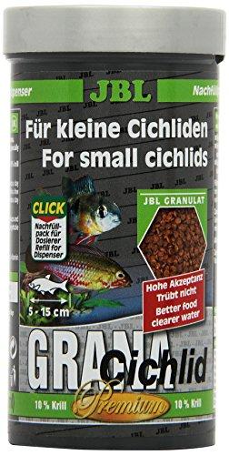 JBL GranaCichlid 40562 Premium Alleinfutter für räuberische Buntbarsche, Nachfülldose Granulat 250 ml