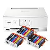 Canon Pixma TS8351 TS-8351 - Impresora multifunción de inyección de tinta a color (impresora, escáner, fotocopiadora, impresión de CD, USB, WLAN, LAN, Apple AirPrint, tarjeta SD), color blanco