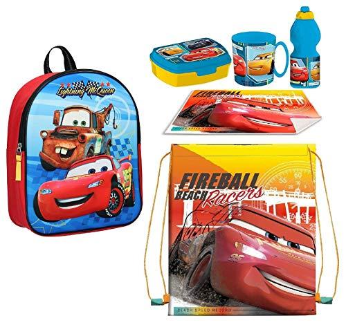 Set Zainetto Zaino in 3D Cars Rosso Disney,Sacca Sport, Porta Merenda Scuola Asilo Tempo Libero