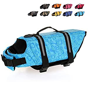 HAOCOO Dog Life Jacket Vest Saver Safety Swimsuit Preserver with Reflective Stripes/Adjustable Belt Dogs?Blue Bone,XS