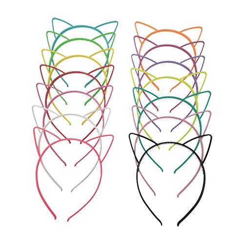14pcs Katze Ohr Stirnband Plastikkatze Hairband Katze Bogen Hairbands Verfassungs Partei Headwear für Frauen Mädchen(14 Farben)
