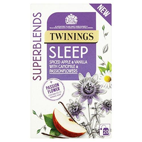 Twinings Dormir 20 Bolsitas de Té Con Manzana Especiada, Vainilla, Manzanilla y Flores de la Pasión - Contribuye al Sueño Normal - Twinings Abastecidos con Cuidado Superblends