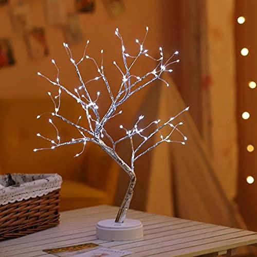 Árbol de luz de hadas para decoración con forma de árbol, luz LED bonsái, decoración de escritorio superior lámpara de noche para Navidad boda fiesta - 108 LED blanco
