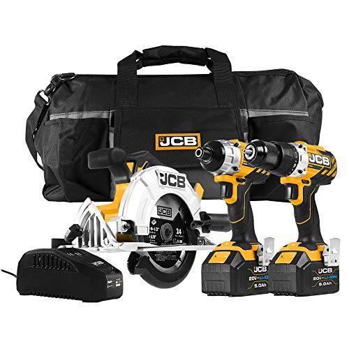 JCB Tools - JCB Tool Kit - Including JCB 20V Drill Driver - JCB 20V Impact Driver - JCB 20V Circular Saw - 2 x 5.0Ah Battery - 2.4A Fast Charger (JCB-20BL-KIT)
