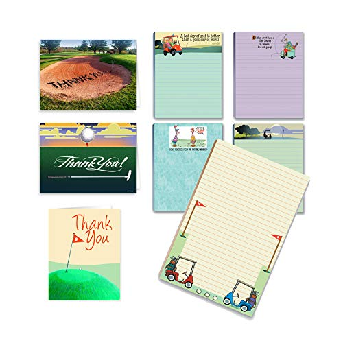 Golf Gift Set Variety Pack - Golf Note Cards PLUS Golfing Notepads PLUS Golf Magnetic Notepad -Golf Gift Box