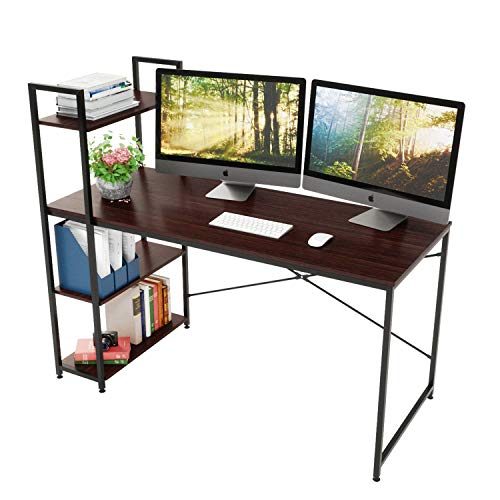 Bestier 55 Inch Computer Desk with Shelves, Modern Writing Desk with Bookshelf, Study Desk Writing Table for Home Office P2 Wood (Brown)