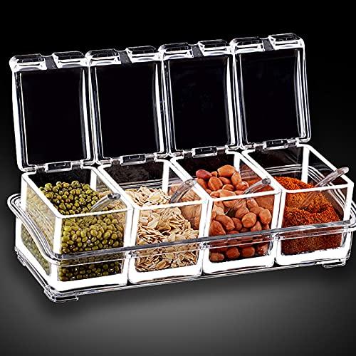 HLJS Juego de 4 cajas de especias de cocina con cucharas y tapa transparente acrílico para especias, 4 en 1, de plástico, para especias, recipiente de almacenamiento extraíble