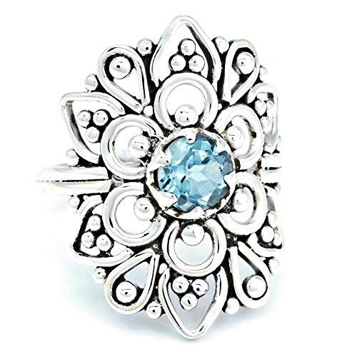 Anillo de plata de ley 925 azul topacio (No: MRI 174), Ringgröße:50 mm/Ø 15.9 mm