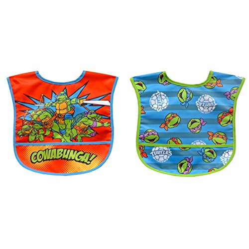 Neat Solutions 2 Piece Water Resistant Toddler Bib Set, Teenage Mutant Ninja Turtle