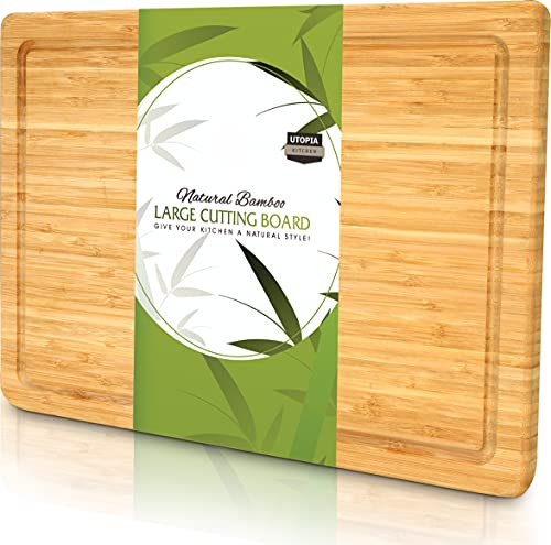 Utopia Kitchen Extra Large Bamboo Cutting Board with Juice Groove , Kitchen Chopping Board for Meat...
