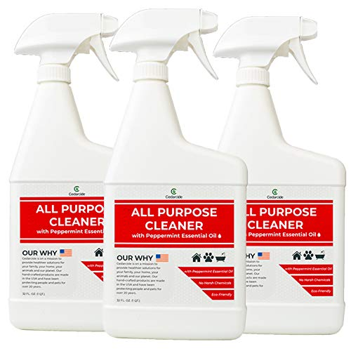 Cedarcide Peppermint All Purpose Natural Cleaner Spray (X3 Quart Pack) | Multi-Surface Degreaser | Biodegradable | No Artificial Fragrances | Made with Essential Oils