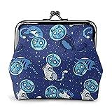 Bolsa de cuero para monedas, diseño de gatitos galácticos, cierre de bloqueo, mini bolsas de maquillaje para mujeres y niñas