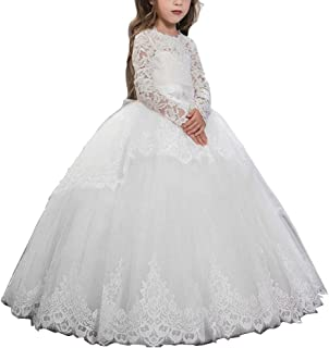 Pageant Flower Girls Dress Lace Long Sleeves Princess Tulle Ball Gown