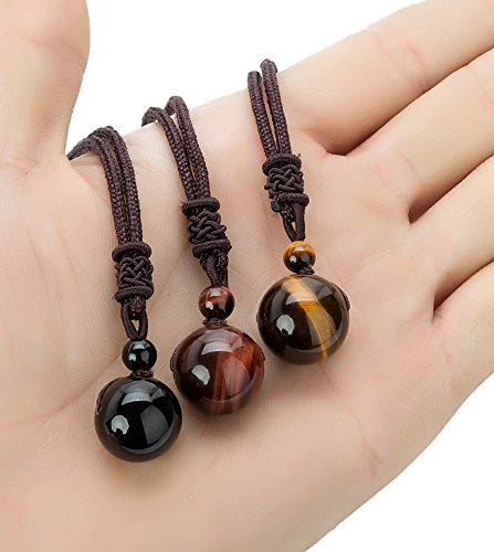 REVOLIA 3 Pcs Tiger Eyes Beads Necklace for Men Women Natural Stone Pendant Adjustable