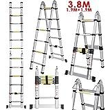 Voluker 3.8M Escaleras plegables aluminio,Escalera Telescpica ,1.9M+1.9M,Escalera aluminio Carga maxima150kg