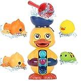 【お風呂時間が楽しみになりおもちゃ】可愛いカラフルなお風呂玩具、動物と水車な組み合わせで子供たちの目を引きます。自分の手で水を注いで 水車を回リ、指先の発達と好奇心を育み お風呂を好きになリます! 【セット内容】水車本体(吸盤二つ付き)×1、ヒシャク×1、浮かぶ動物玩具×2、時計仕掛け泳げるアヒル×2 【面白い水遊び】電池不要で 水を動力とします。 ひしゃくで上から水を入れると アヒルちゃんの口から水が流して 水車がグルグル回リ アヒルの眼球もグルグル回転します。音出し水遊び玩具の亀と鳥は水面に...