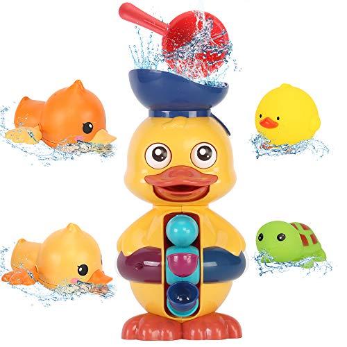 Sotodik Badspielzeug Baby Bad Wandspielzeug mit Wasserfall Station Spielzeug mit 2PCs Float Squirt Sound Spielzeug und 2 Stück Schwimmenten Wind-Up Pool Badewanne Spielzeug Set Dusche Bad Spiel