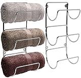 Sorbus Towel Rack Holder Set - Wall Mounted Storage Organizer for Towels, Washcloths, Hand Towels, Linens, Ideal for Bathroom, Spa, Salon, Modern Design, Set of 2 (Silver)