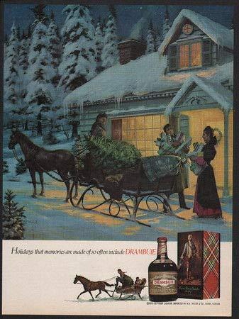 Metallschild 1976 Drambuie Likor Pferd & Schlitten Weihnachtsbaum Schnee Vintage AD Home Vintage 20,3 x 30,5 cm