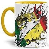 Tassendruck Flaggen-Tasse Fussballer -Senegal - Fahne/Länderfarbe/WM 2018/Weltmeisterschaft/Cup/Tor/Innen und Henkel Gelb - Qualität Made in Germany