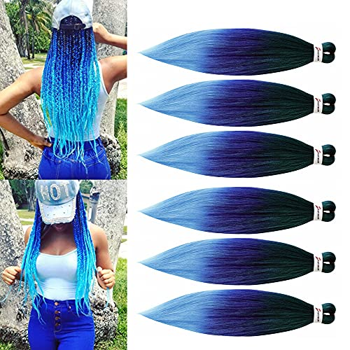 26inch Pre Stretched Braiding Hair Ombre Blue Jumbo Braids Synthetic Crochet Hair Extensions Afro Easy Braids Multi Color(Mixed Green Blue/Light Blue)