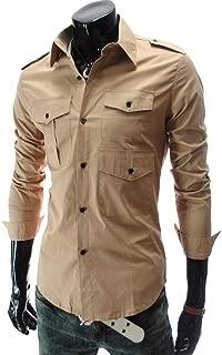 Qiyun Men's Shirts Men Slim Classic Lapel Shirt Multi-Pockets Epaulettes Autumn Winter Long Sleeve Casual Tops