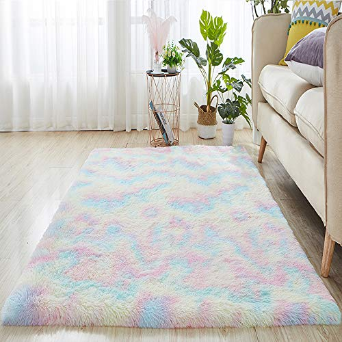 Rainbow Area Rugs Fluffy Shaggy Plush Super Warm Soft Artificial Simulation Fur Non Slip Floor Carpet for Bedroom Nursery Living Room, Home Decor Rugs Baby Kids Toddler Colorful Furry Playing Mat