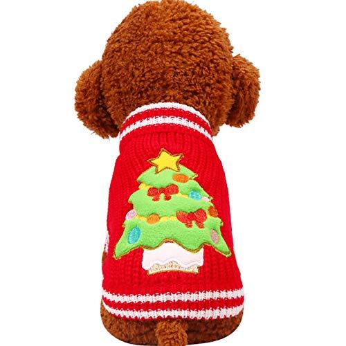 Stale Weihnachtsbaum-Strickhund-Strickjacke-Jahr-Winter-weiche Waschbare Hundekleidung für Kleine und große Hunde red Christmas Tree XXS