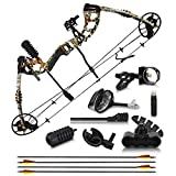 "2021 Compound Bow and Arrow for Adults and Teens – Bowfishing & Hunting Bow with Gordon Limbs Made in USA - Fully Adjustable for Women and Youth 30-70 LBS, 23.5-30.5"" - 320 FPS Speed – Right"