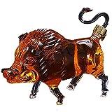 N / B Decantador de Whisky Animal de 1000 ml, Perfil Creativo de una decantadora de Vino de jabalí, para Licor, escocés, Ron, Bourbon, Vodka