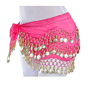 Lauthen.S 128 Coins Belly Dance Hip Scarf Tribal Belt Halloween Genie Costume Accessory Hot Pink