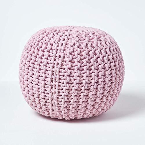 Homescapes Mustard Knitted Cube Footstool