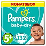 Pampers Baby-Dry Windeln, Gr. 5+, 12-17 kg, Monatsbox, 1er Pack (1 x 132 Stück)