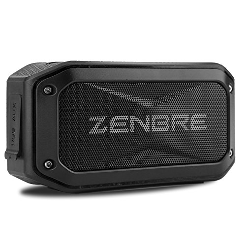 Bluetooth Speaker, ZENBRE D5 Bluetooth 4.1 IPX7 Waterproof Speaker, 40H Playtime with 6W Boom Bass, Compact Portable Speaker in Rugged Design, Micro SD Card Slot, Bike Mount Screw (Black)