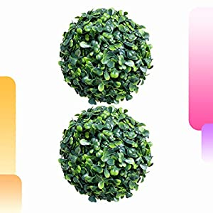 Happy Screen Artificial Topiary Ball – 2 Pieces 7″ Decorative Boxwood Ball – Full Indoor/Outdoor Faux Greenery Ball Wedddings Garden Yard Porch Decor (2pcs 7 Inch Boxwood Ball)