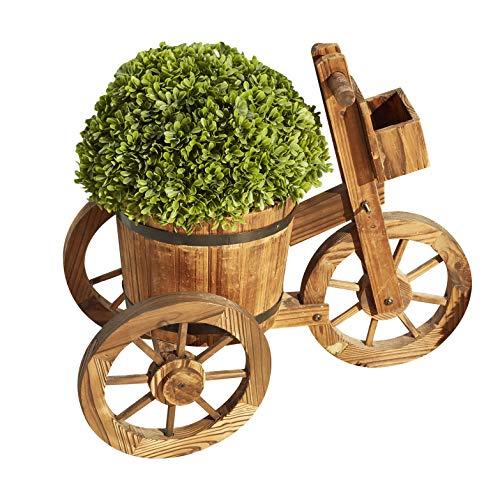 LOKATSE HOME Wooden Barrel Tricycle Planter Wagon Home Garden Outdoor Decor, Brown
