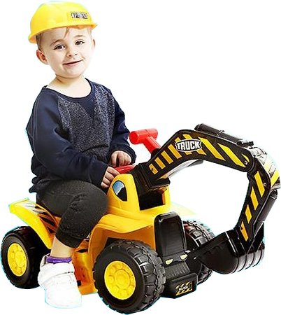 Play22 Toy Tractors for Kids Ride On Excavator - Music Sounds Digger Scooter Tractor Toys Bulldozer Includes Helmet with Rocks - Ride on Tractor Pretend Play - Toddler Tractor Construction Truck
