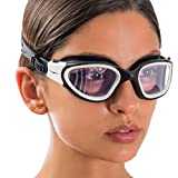 AqtivAqua Wide View Swim Goggles // Swimming Workouts - Open Water // Indoor - Outdoor Line (Clear-Lenses White/Black-Frame)